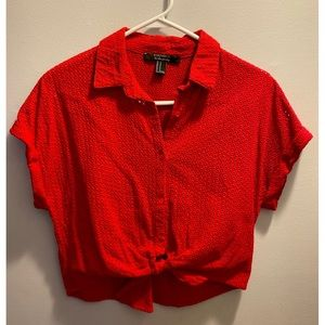 Red Perforated Tie Top